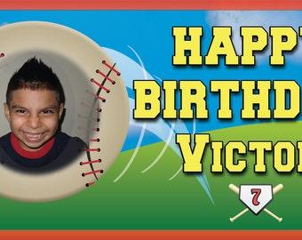 Sports Baseball - Personalized Custom Birthday Banner