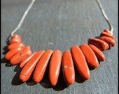 Stunning Red Jasper nuggets and silver chain bib necklace
