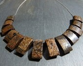 Brown Bronzite bib tribal Gemstone necklace. Tribal design on silver colour chain.