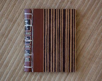 brown striped vintage hand made journal // hard bound journal