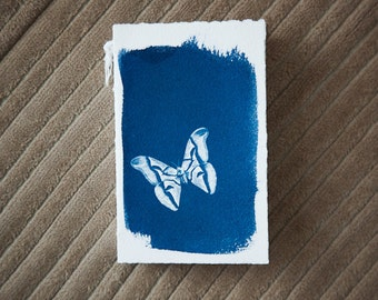 handmade journal with cyanotype