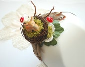 Forest fairy-Headband-Deer,fawn,toadstool,nest-Rustic,vintage,forest,woodland inspired-