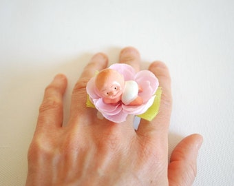 Cute New Born Baby Ring, Baby Pink Flower Pregnant Ring, Mom Child Ring, New Born Baby, Pink Baby Girl Ring, Maternity Gift Ring