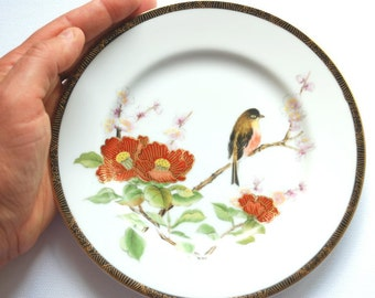 vintage chinese japanese plate, bird, cherry blossom, peony, home decor, wall decor, collectibles, weddings decor, spring bird, asian