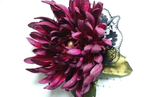 Dark purple chrysanthemum aster-Bridal Brooch,hair clip,comb-Weddings accessories,bride,bridesmaid,girl photo prop