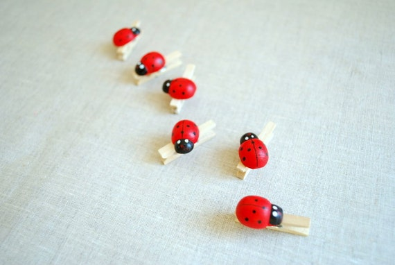 cute ladybugs, mini clothespins, wood, weddings deco, birthday, gift, decoration, scrapbook, set of six, red black, weddings party