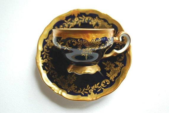 vintage coffee mocha cup and saucer, demitasse, Germany Weimar porcelain, cobalt blue, gold, home decor, weddings decor, housewares