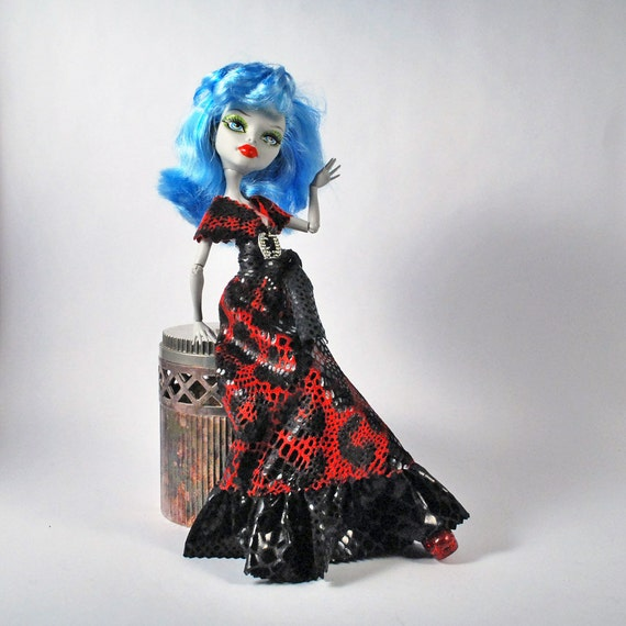 Monster High handmade fashions bloody red leopard print doll dress