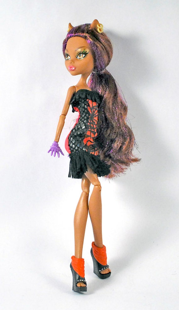 Monster High handmade couture fashions Sparkly orange and black form fitting hologram dress with faux snake skin and spider web trim
