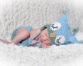 Sleepy Owl Crochet Hat and Diaper Cover.
