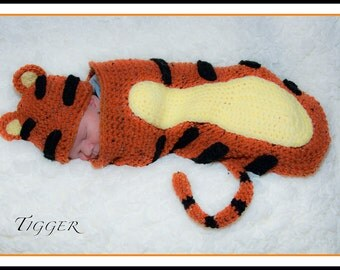 Crochet Tiger Hat and Cocoon Set