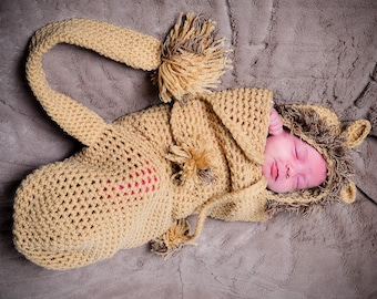 Crochet Lion Bonnet and Cocoon Set