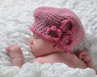 Newborn Pink Crochet Flower Beret