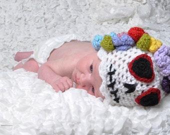 Sugar Skull Crochet Baby Hat