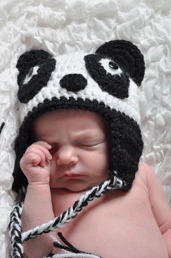 Panda Bear Earflap Hat Crochet Pattern : Handmade Panda Bear Crochet Earflap Hat