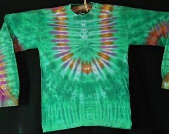 Green LongSleeve TieDye Tee Shirt Size S