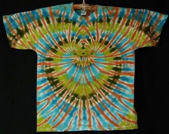 Blue and Green TieDye Short Sleeve Tee Shirt Size XL