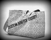 Double Diaper Bag and Changing Pad in Zig Zag Print with Waterproof Interior and Messenger Bag Closure