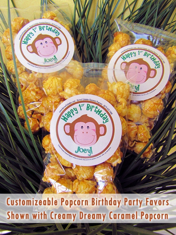 Popcorn Birthday Party Favors - 12 - Monkey - Choose Your Flavor