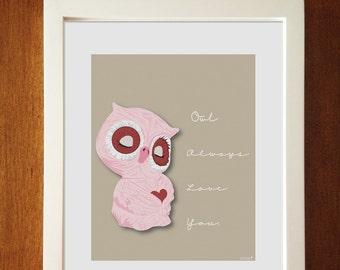 "Children's Decor - ""Owl Always Love You"" - Nursery Art, 8 x 10, Nursery illustration, Owl Decor, Kids Art,"