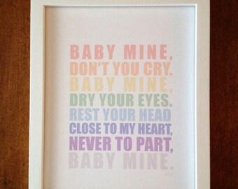 BABY MINE, Nursery Art, 8 x 10 Print- Childrens Decor, Wall Art