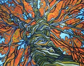 """Original Acrylic Painting """"Fire Tree"""" by Tracy Levesque"""