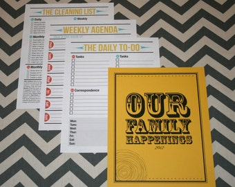 "Newlywed Retro Style ""Our Family Happenings"" Cover Page and Set of 3 Printable Lists (can be customized)"