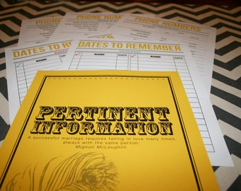 """Newlywed Retro Style """"Pertinent Information"""" Cover Page and Set of 5 Printable Lists"""