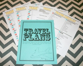 "Newlywed Retro Style ""Travel Plans"" Cover Page and Set of 5 Printable Lists"