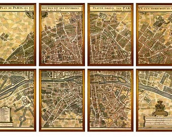 A segmented map of Paris taken from the original hand colored map circa 1760. Set of 8.