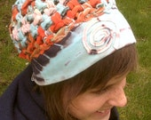 Up-cycled tie-dye Crocheted HAT w/ stretchy cotton trim and SPIRAL patch - orange, brown, baby blue