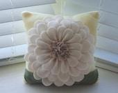 """10"""" Flower applique fleece pillow - Butter Yellow"""