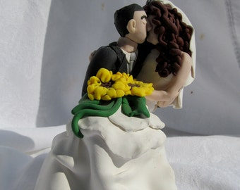 Hand Sculpted Custom Wedding Cake Topper, Sunflowers, Curly Hair, Polymer Clay