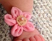 Barefoot Baby Sandals- Light Brown Gingham Barefoot Baby Sandals with Light Pink/ Light Brown Embellishment & Light Pink Pearl Center Bling