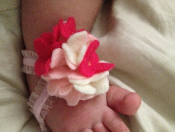 Barefoot Baby Sandals- Light Pink Sandals with Hot Pink, Light Pink and Cream Colored Felt Flowers Embellishment