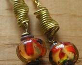 Brass Coil Earrings w/ Orange Brown Lampwork Beads