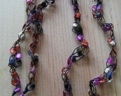 Eye Glass Chain- Tangerine and Pink Ladder Ribbon
