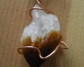 Raw Mineral Pendant- Natural Citrine Crystal and Copper on Ladder Ribbon