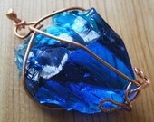 Gorgeous Cobalt Blue Fenton Glass Pendant-Brides, Holidays, Special Occasions