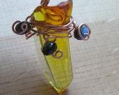 Golden Rod Fenton Glass Copper Pendant w Czech Glass