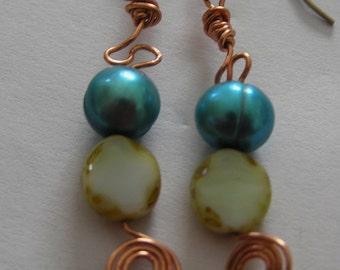 Dyed Freshwater Pearl, Czech Glass Copper Wire Earrings