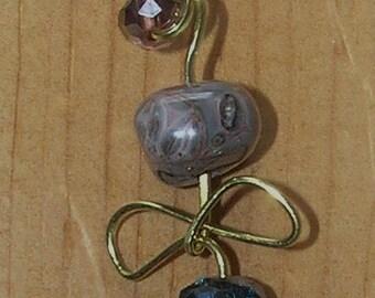 Brass Pendant- Leopardskin Jasper and Double Infinity Wire Design