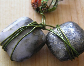 Stone Pendant- Quartz with Pyrite on Tangerine Ladder Ribbon Necklace