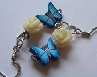 Blue Polymer Clay Butterfly & White Rose Bead Earrings