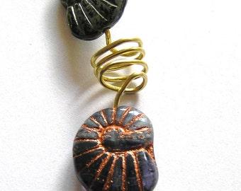 Czech Glass Ammonite Beads on Brass Wire Pendant