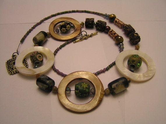 "32"" Necklace- Shell Ringed Kashmiri Beads and Bone Beads"