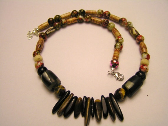 Wood Necklace with Blue Goldstone and Tigereye Beads