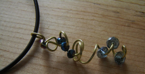 Handcrafted Pendant- Brass Wire and Crystal Beads