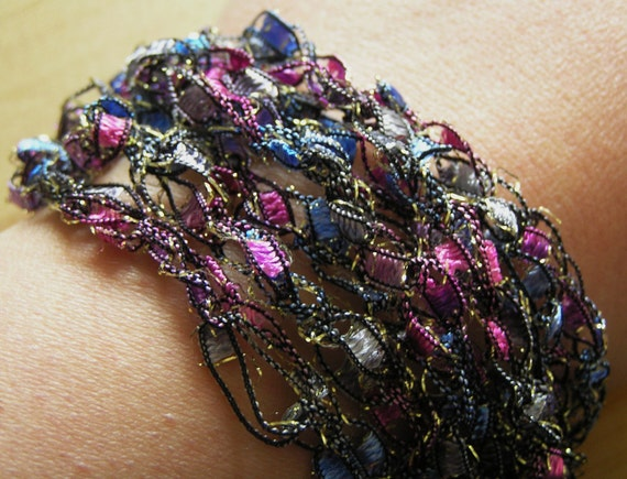 Crocheted Ribbon Bracelet- Purple, Pink. and Blue Glittery Ladder Ribbon