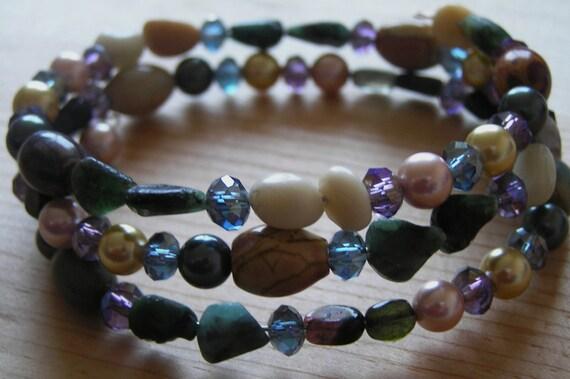 Memory Wire Bracelet: Rough Emerald, Tourmaline, Jasper- Red Creek, and Feldspath